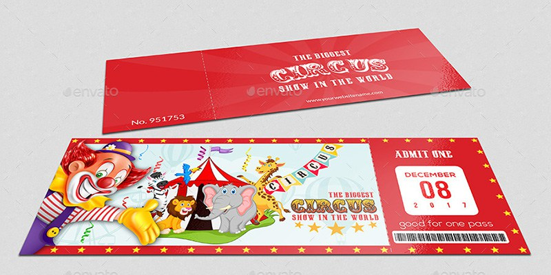 Circus Ticket Mockup PSD