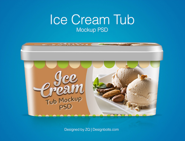 FREE ICE CREAM TUB PACKAGING DESIGN TEMPLATE & MOCKUP PSD FILE