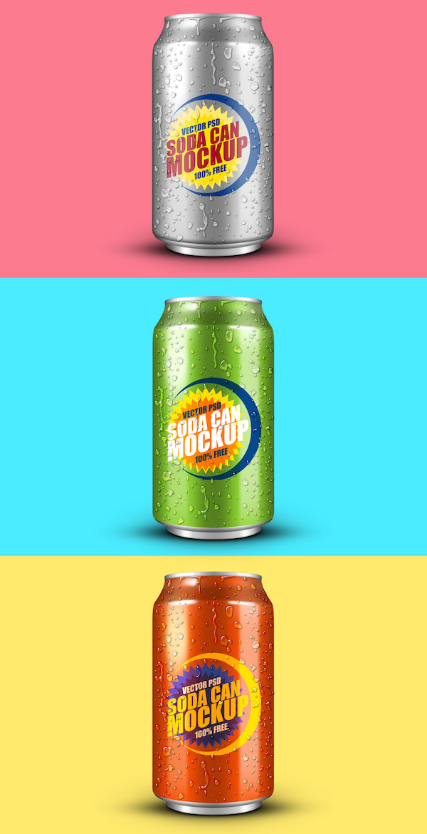 FREE SOFT DRINK CAN PSD MOCKUP
