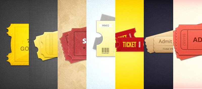 Free 7 Styled Tickets PSD