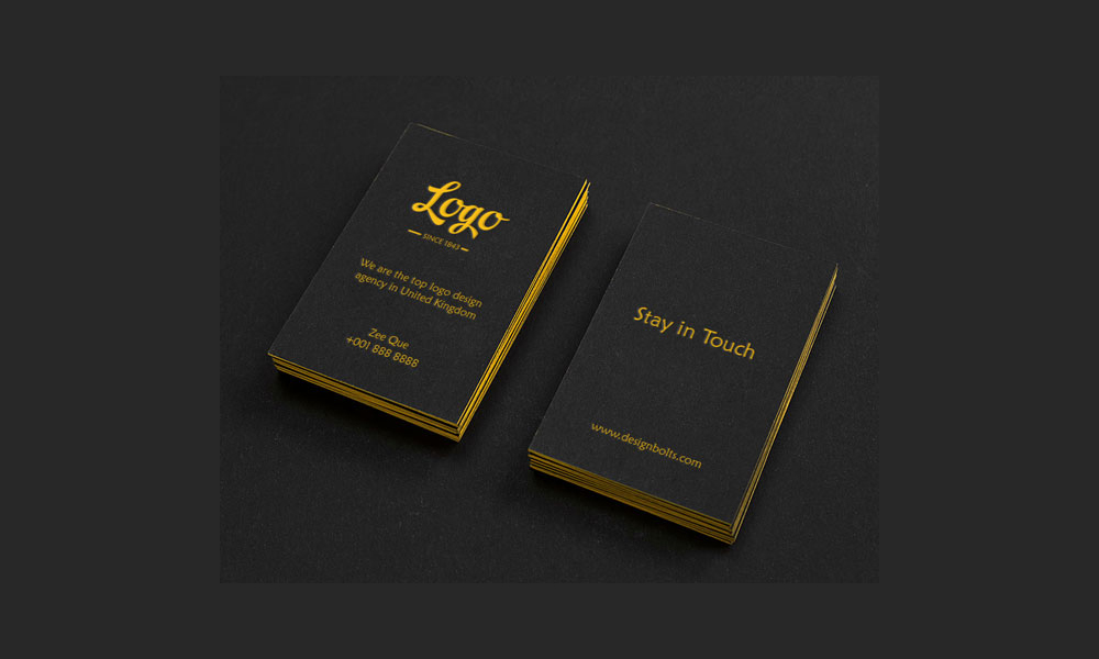 Free Black Vertical Business Card Mock-Up PSD