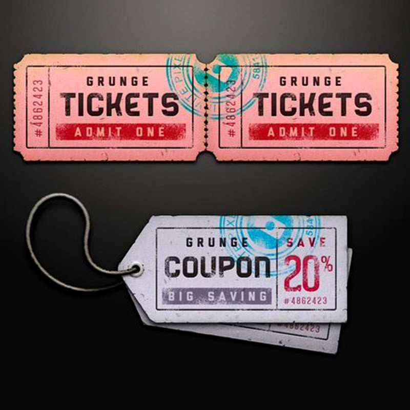 Free Ticket Coupon Sale Tag Psd PSD