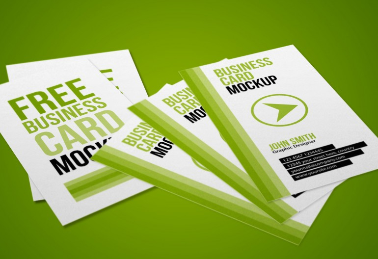 Free Vertical Business Cards Mock Up