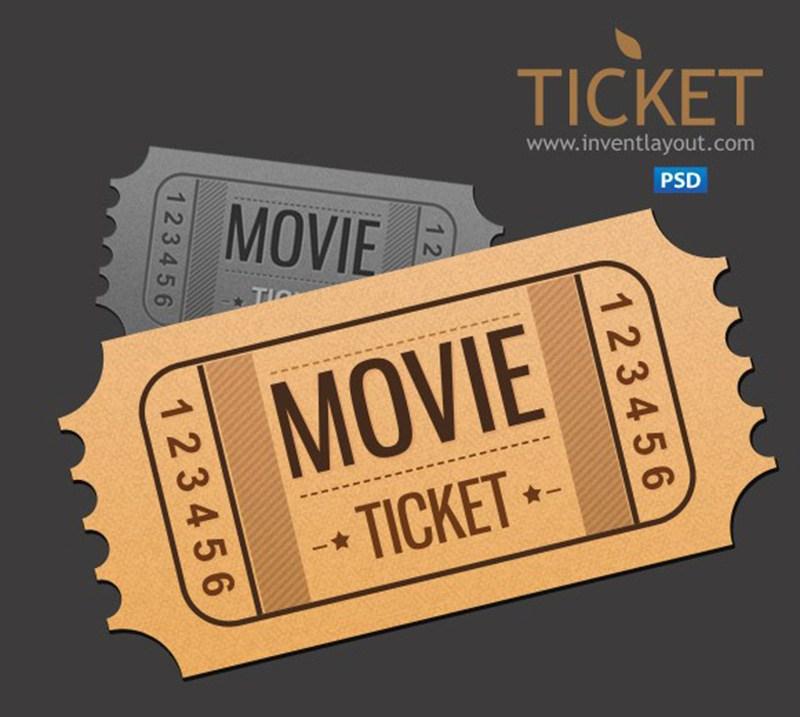 Movie Ticket Free PSD