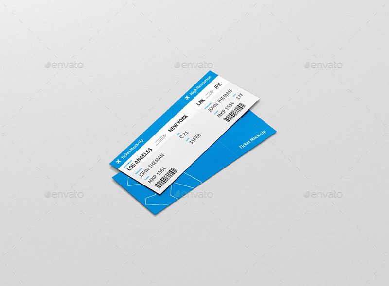 Plane Ticket Mockup PSD