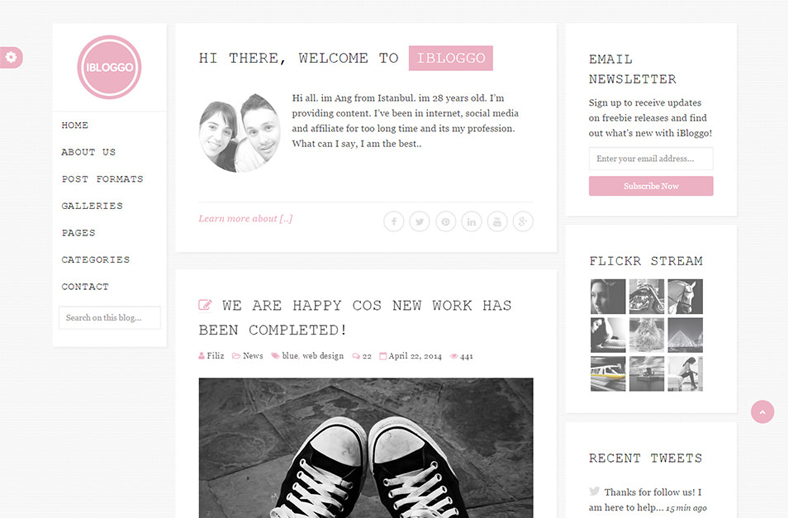 iBloggo - Minimal Personal Blog WordPress Theme