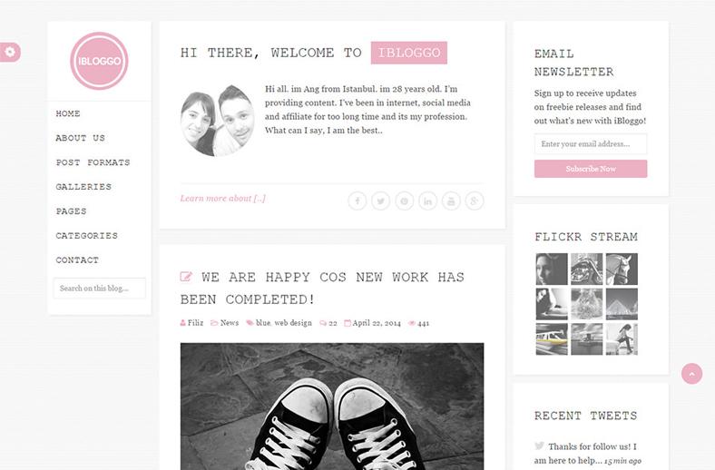 iBloggo - Minimal Personal Blog WordPress Theme