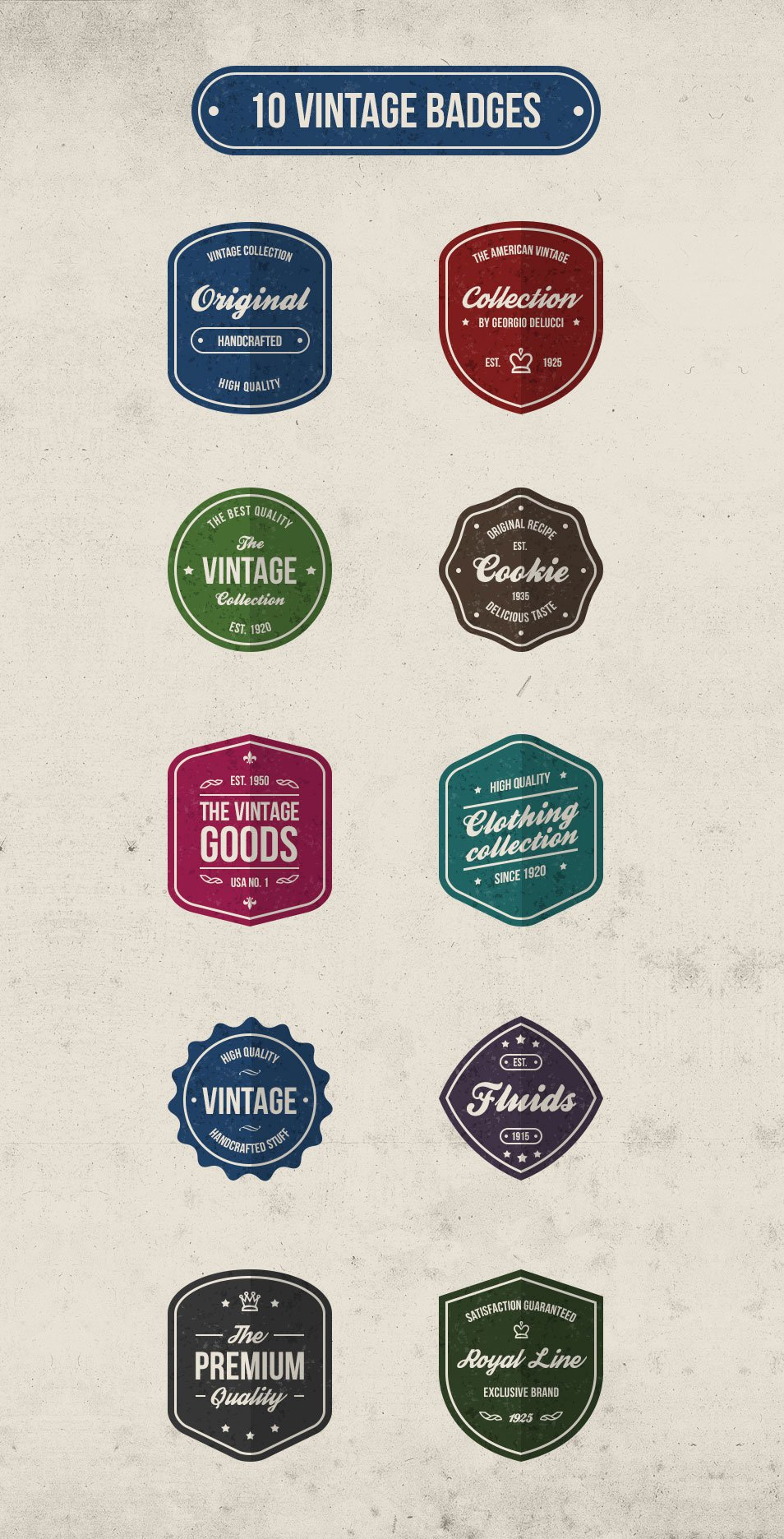10 Free Vintage Retro Badges (Psd)