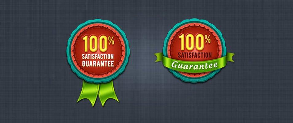 100% Satisfaction Guarantee Badge & Seal (PSD)