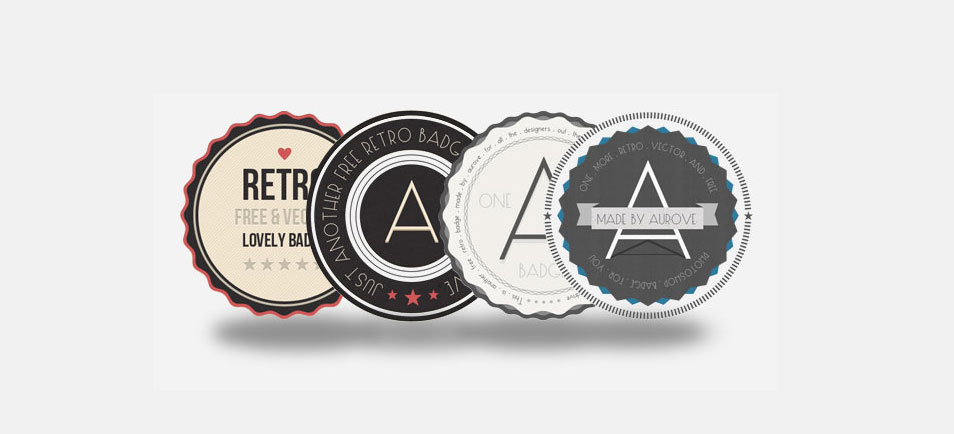 4 FREE RETRO BADGES