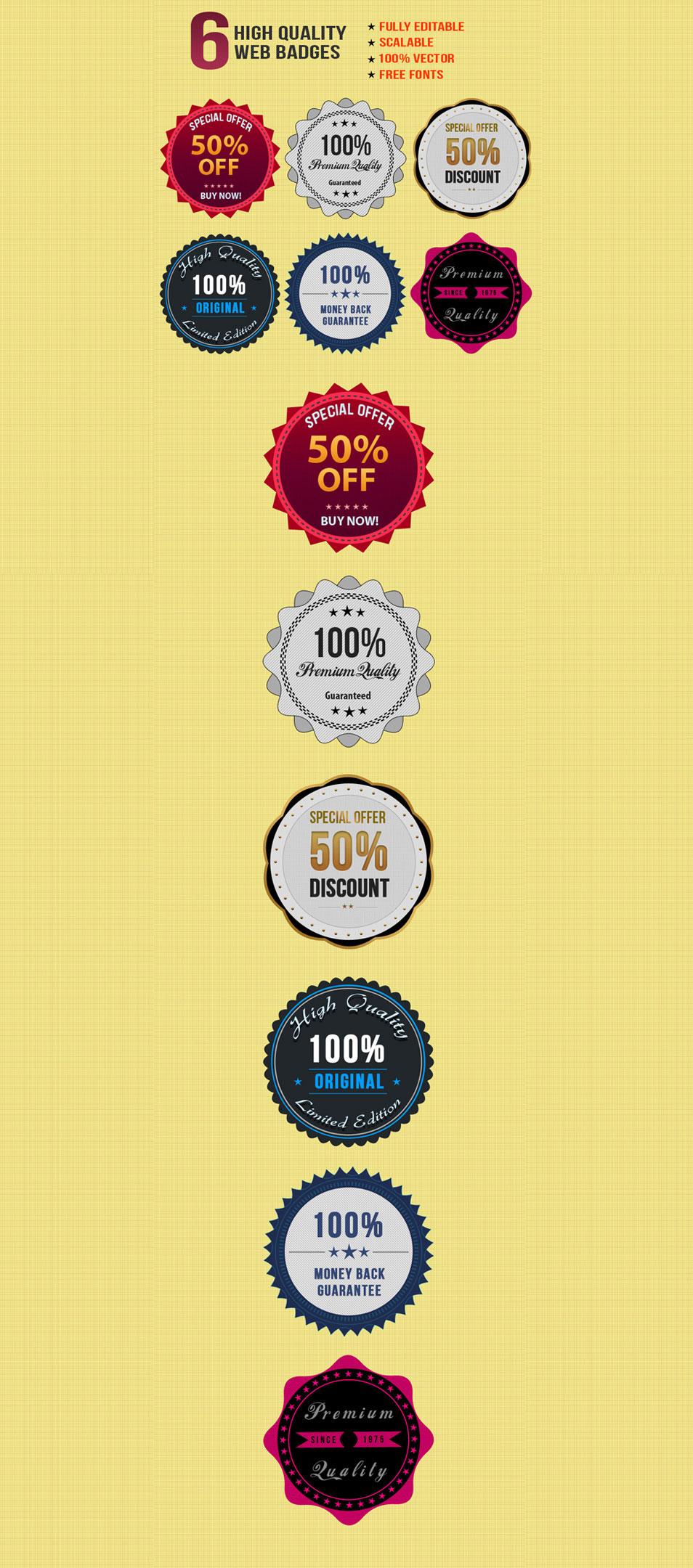 6 Free Stylish Web Badges