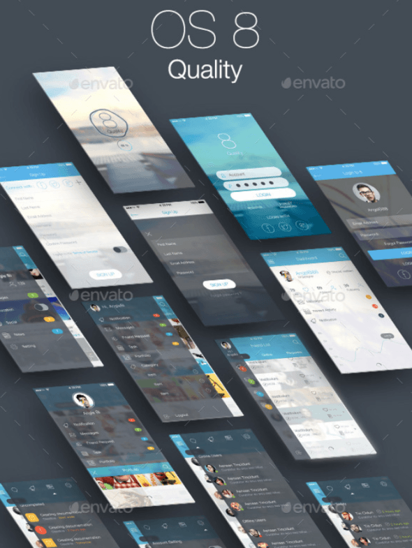 8 Quality Bundle – Mobile and Tablet UI Kit