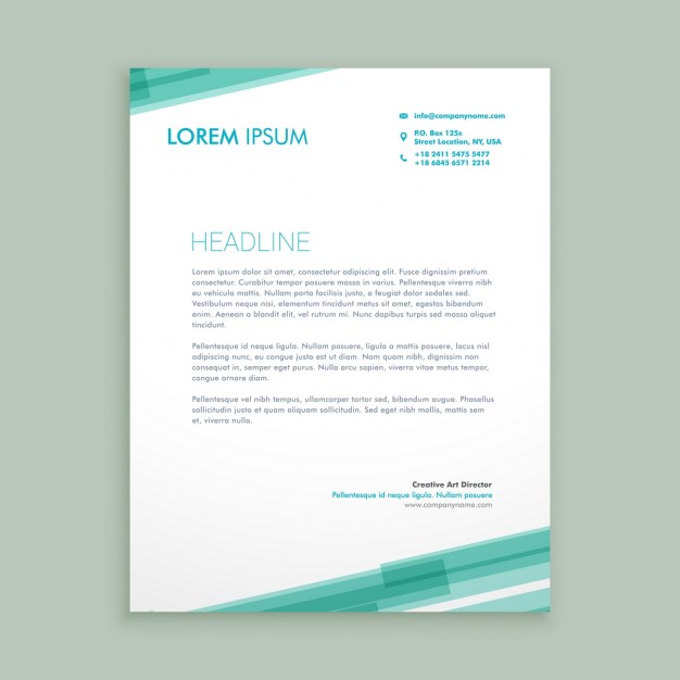 Abstract Letterhead Template With Green Lines