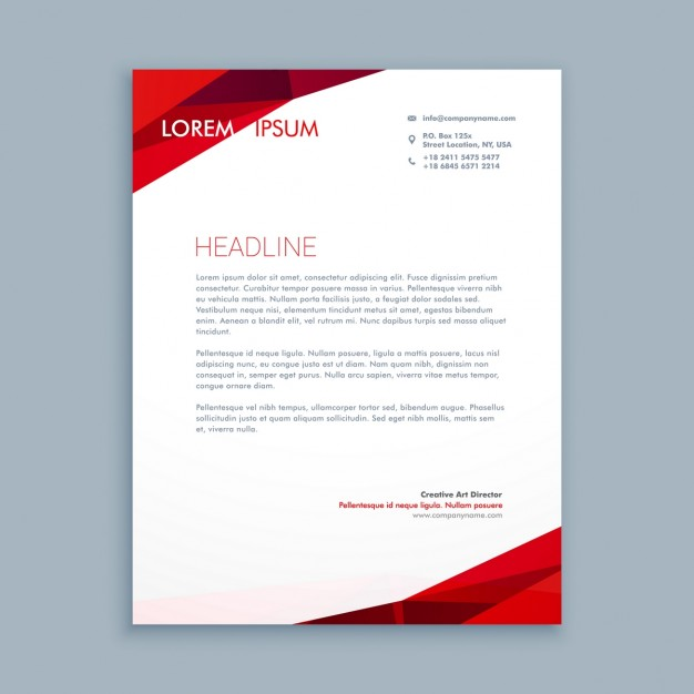Abstract Red Letterhead Free Vector