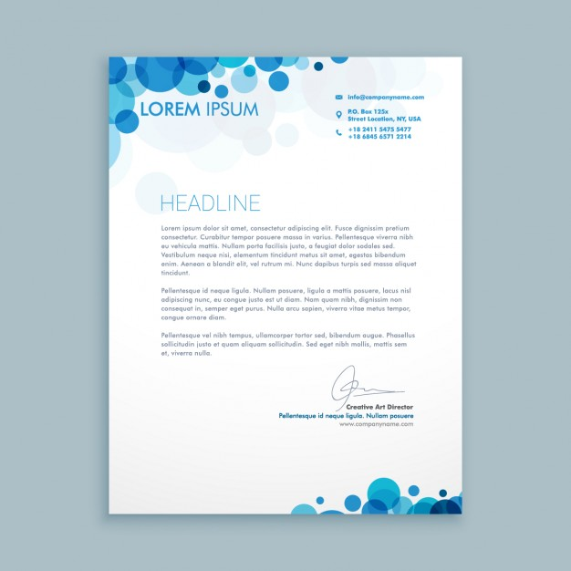 Business Letter With Blue Circles  Business Letterhead Samples
