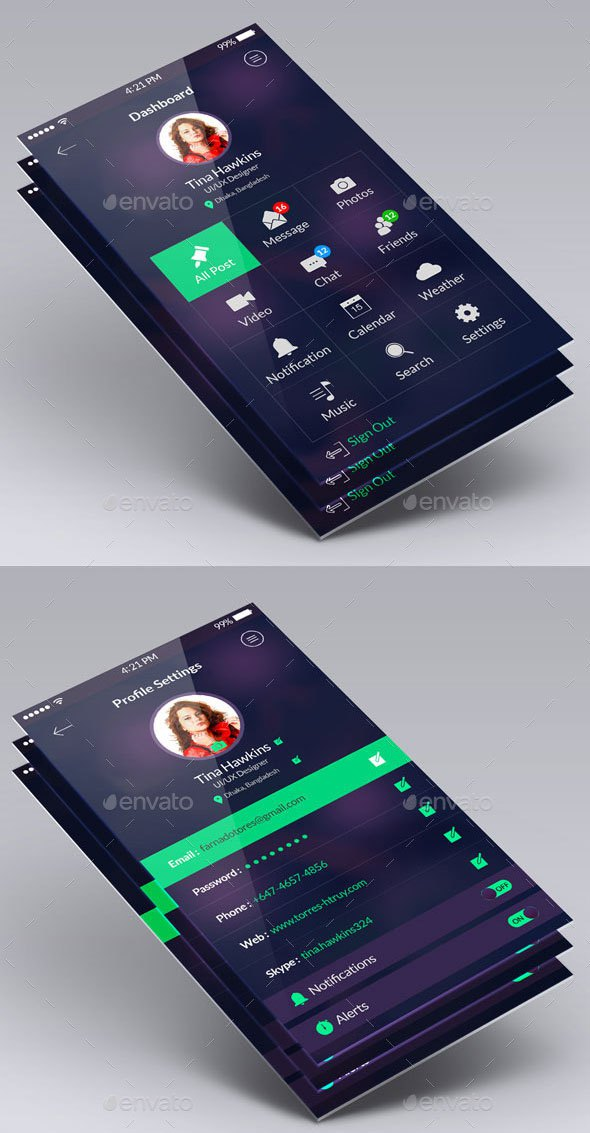 Best mobile app ui design psd templates