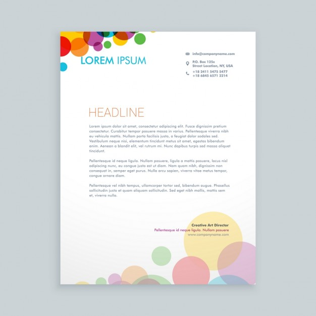 Creative Colorful Circles Letterhead