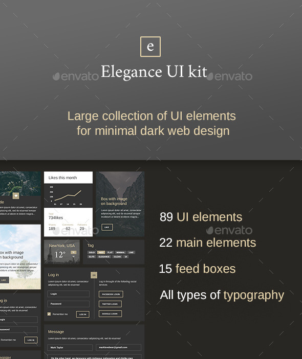 Elegance – Minimal and Dark UI kit