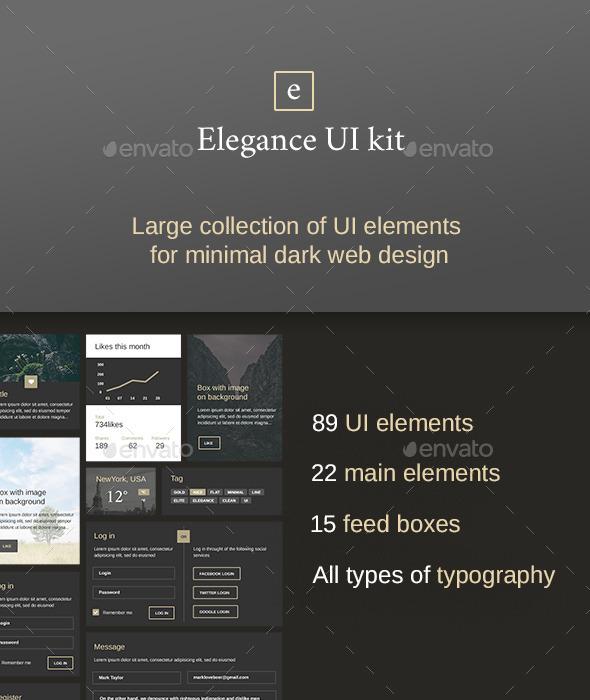 Elegance – Minimal and Dark UI kit