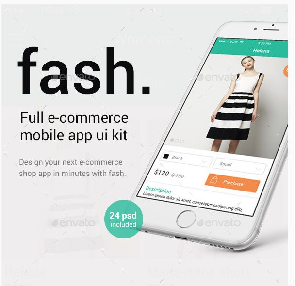 Fash – A Mobile E-Commerce Shop UI Design Kit