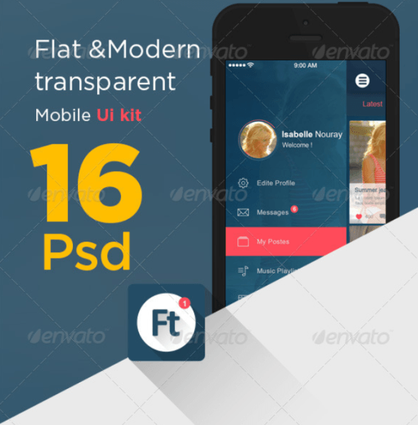 Flat Modern Transparent App UI kit
