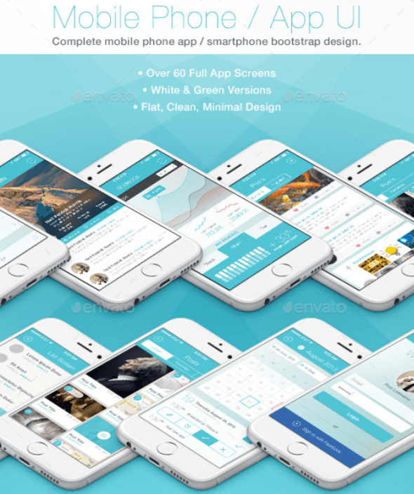 Flat Phone Mobile App Bootstrap UI