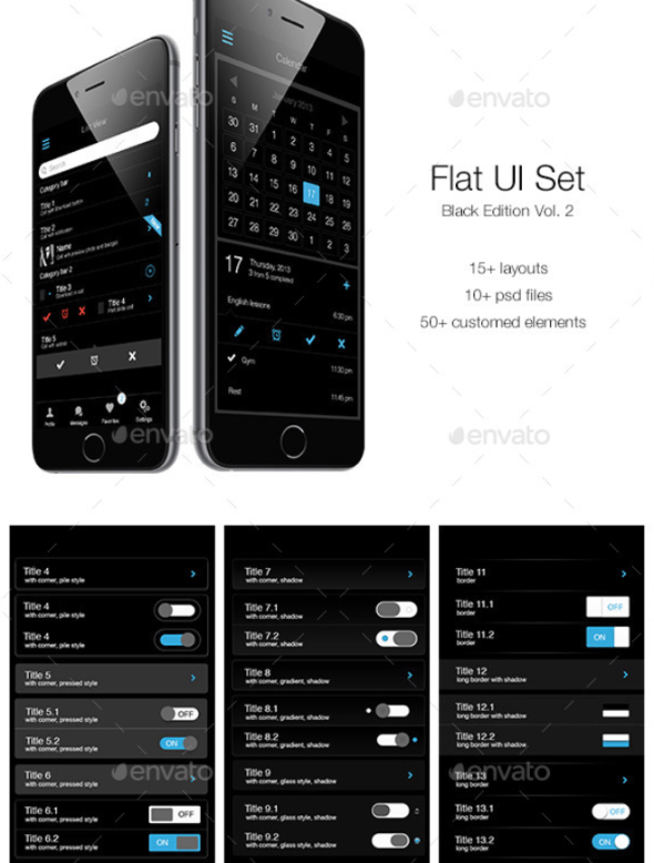 Flat UI Set Black Edition Vol. 2