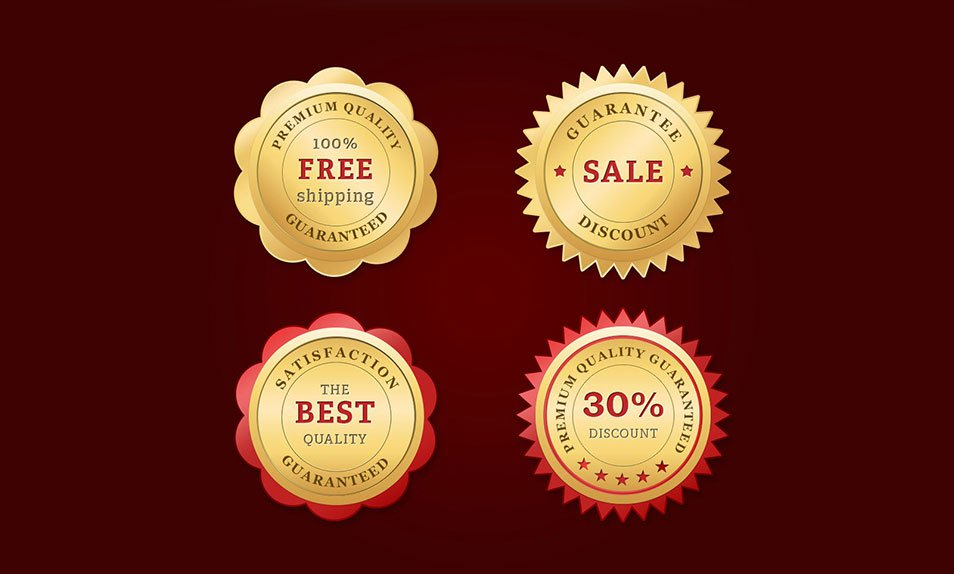 Free PSD Golden Web Badges