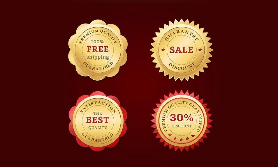 Free PSD Golden Web Badges