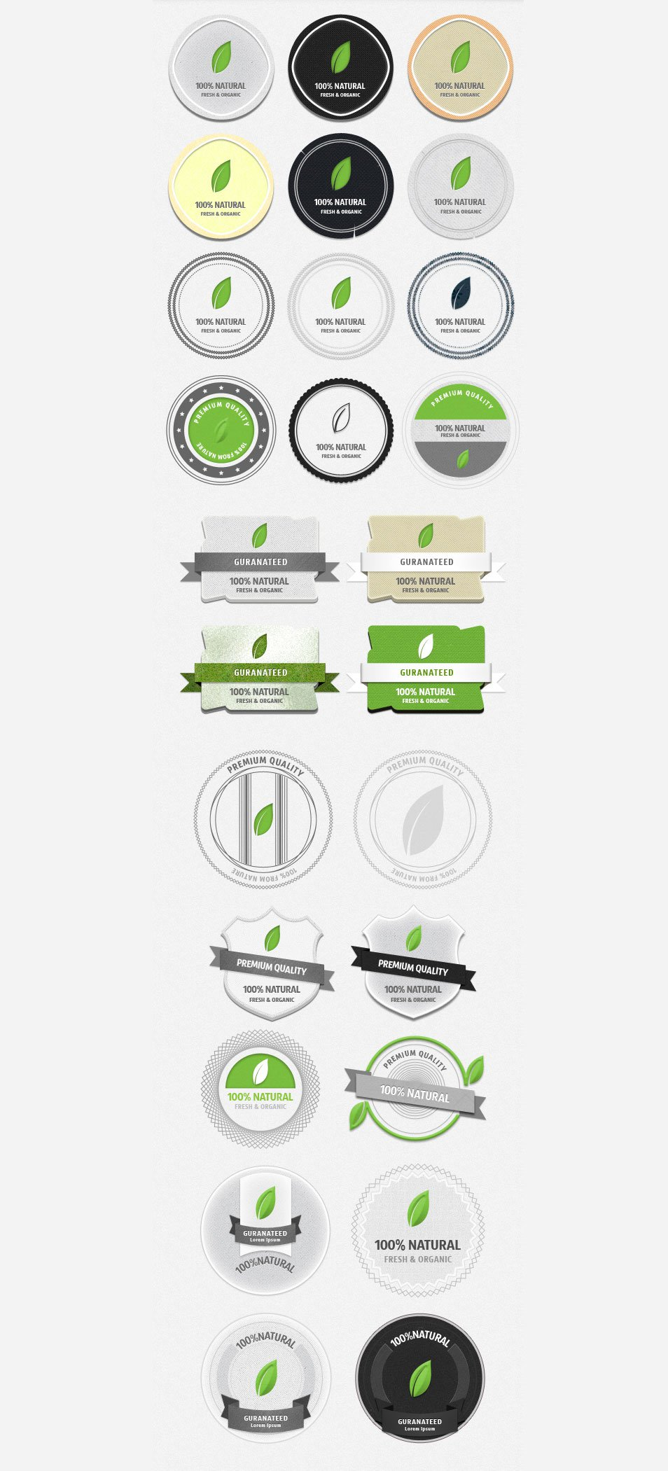 Fresh Organic Badges (PSD)
