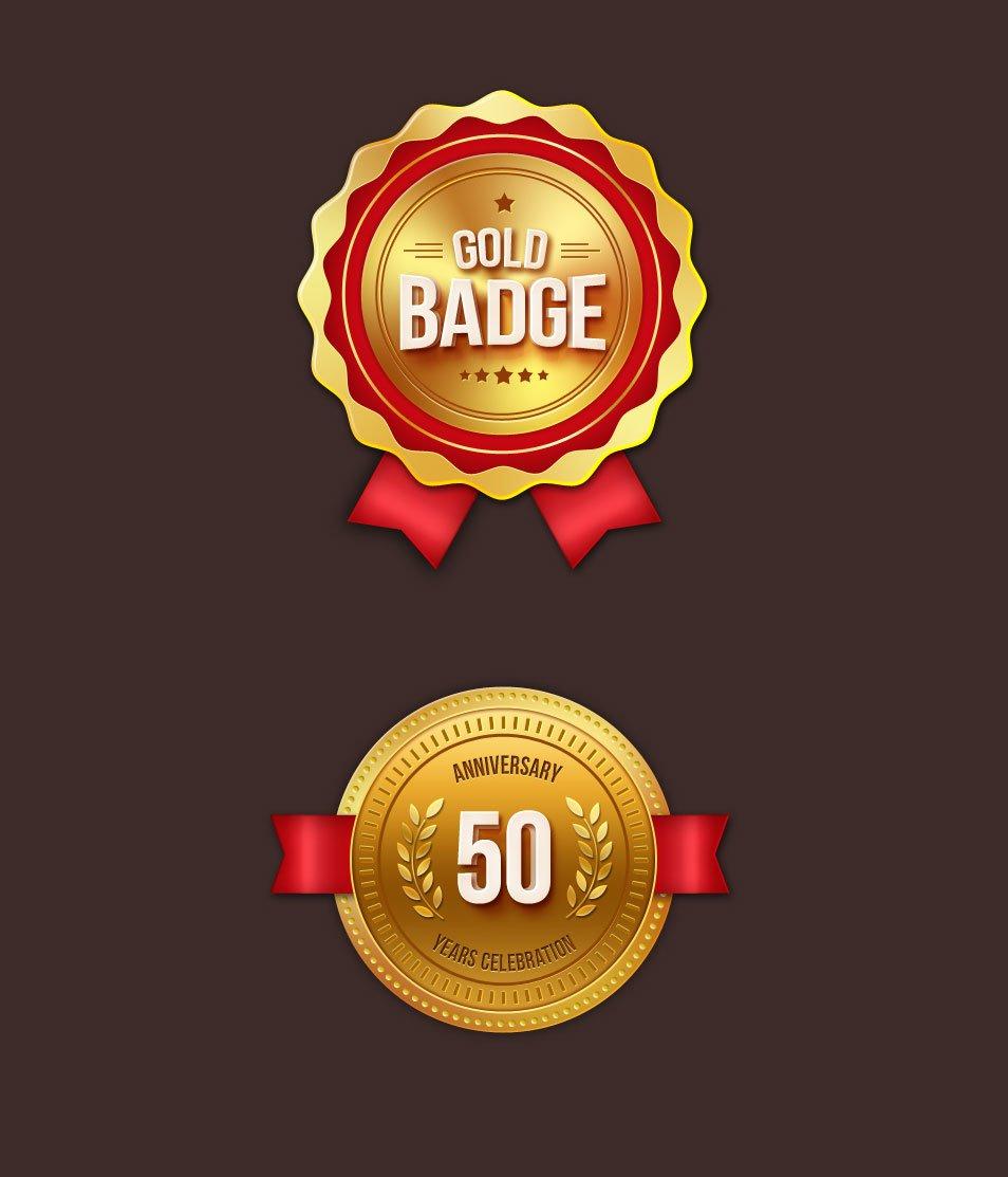 Gold Badges PSD