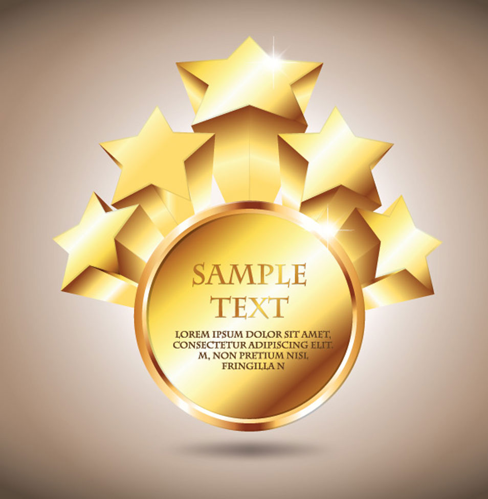 Golden Star Badge Vector Graphic