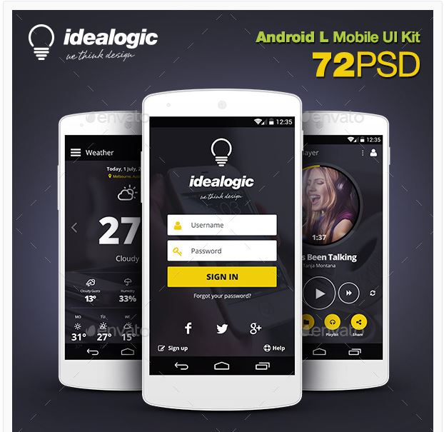 Idealogic – Android L Mobile UI Kit