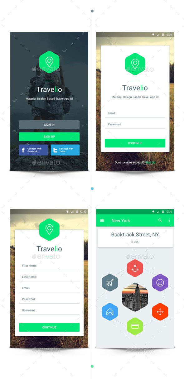 Material Travel App UI