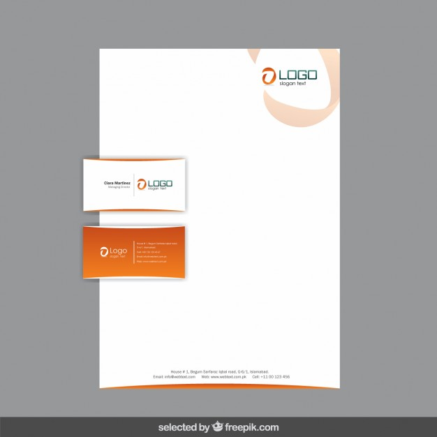 Orange Business Stationery Free Vector