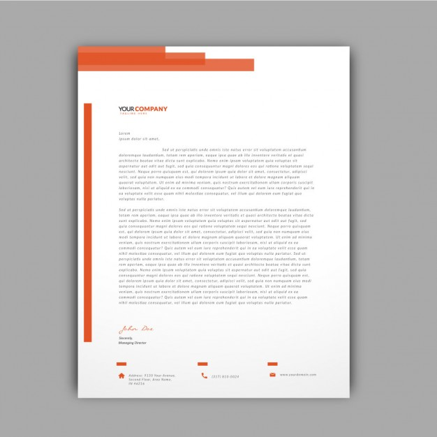 Orange Details Letterhead Template