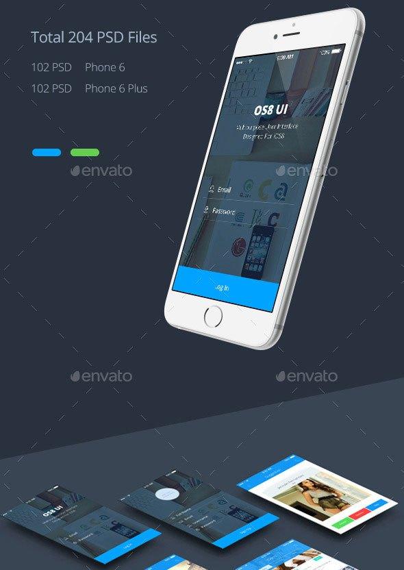 Phone 6 Plus OS 8 Style App UI Templates