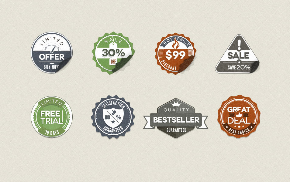 Psd Modern Vintage Stickers Badges