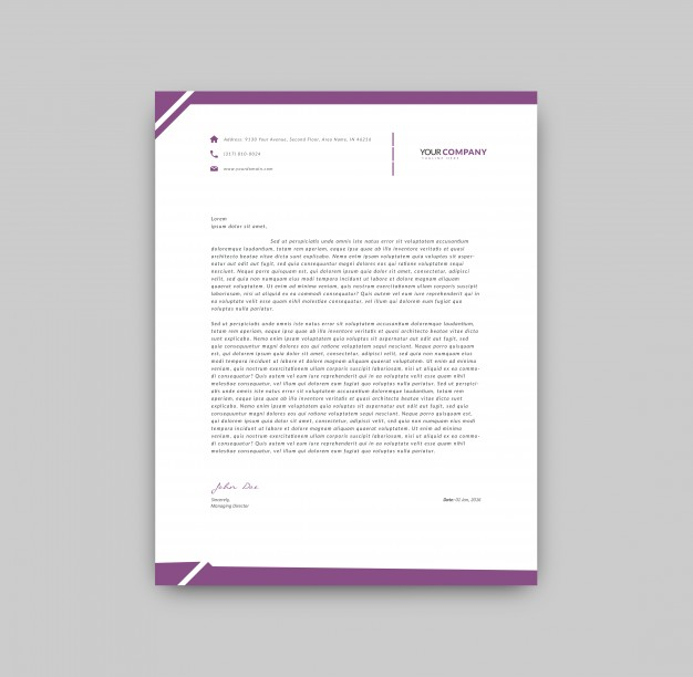 Purple Details Letterhead Template Free Vector
