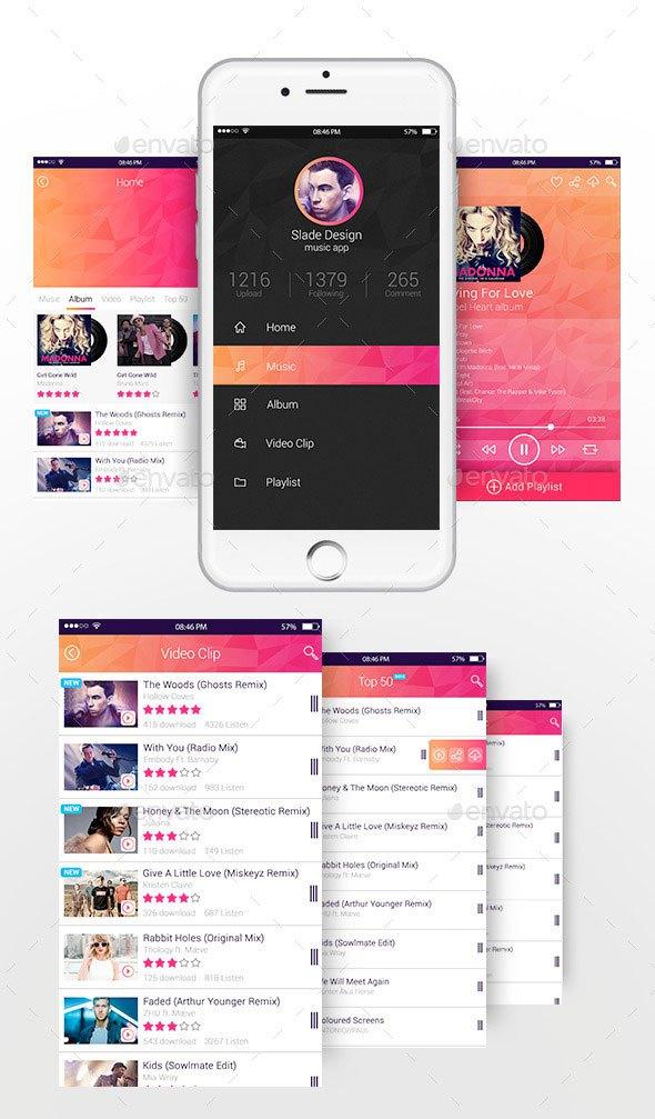 Slade Music App Design