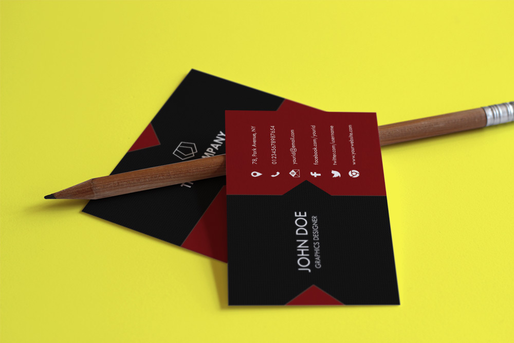 Red Black Business Card Template PSD