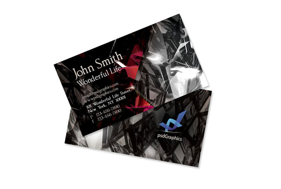 Black Crystals Business Card PSD