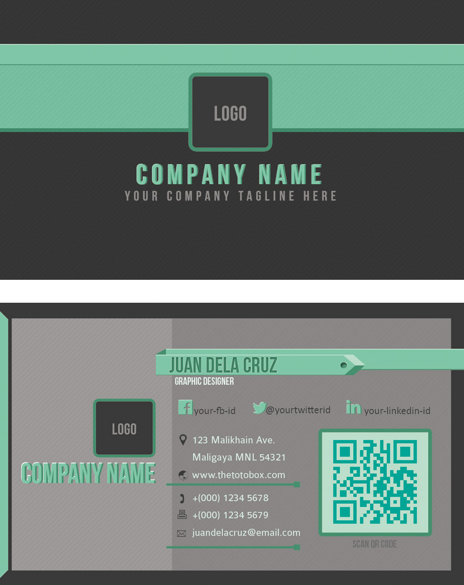 Business Card Templates Green Glow