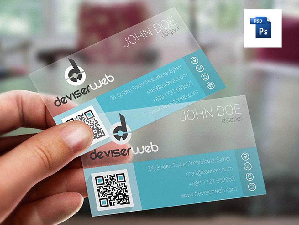 Flat Transparent Plastic Business Card