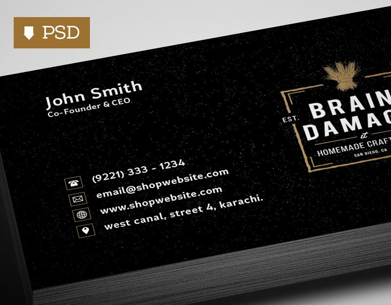Free Black Business Card Template PSD
