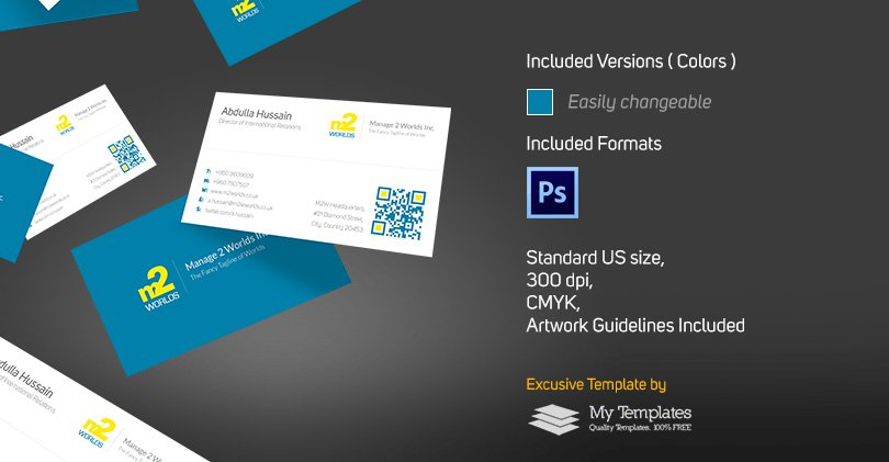 Free Clean Business Card Template PSD 3