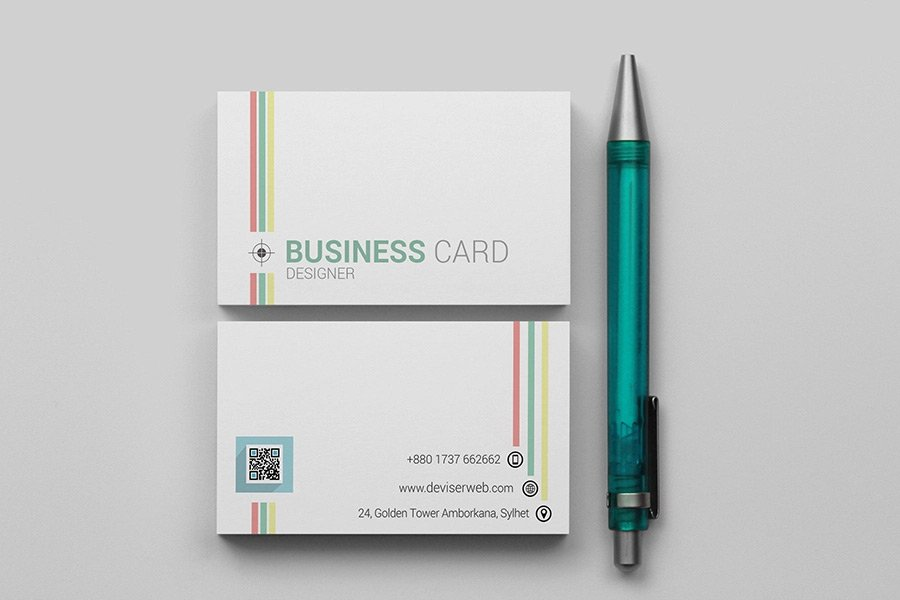 Free Colorful Line Business Card Template PSD