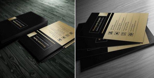 Free Dark Gold Business Card PSD