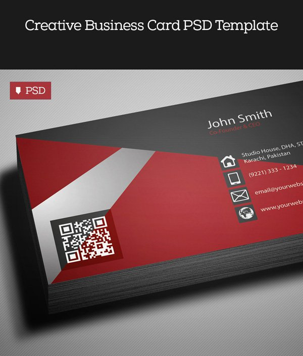 Free Red Business Card Template PSD