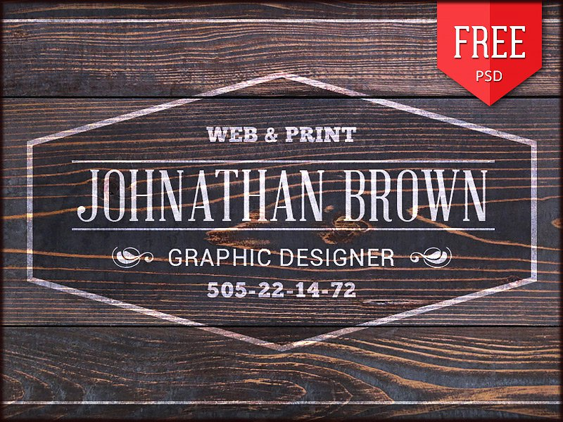 Free Retro Wooden Business Card PSD